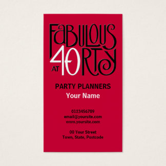 Fabulous 40 black white red Business Card