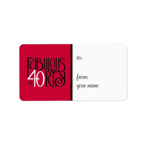 Fabulous 40 black white red Gift Tag  Label