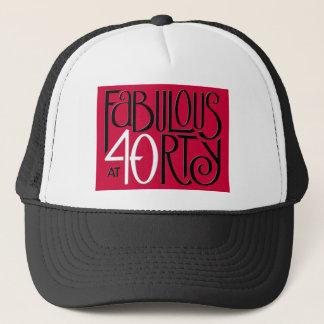 Fabulous 40 black white red Hat