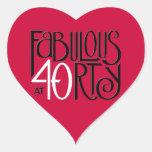 Fabulous 40 black white red Heart Sticker