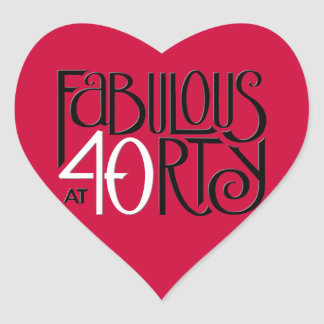 Fabulous 40 black white red Heart Sticker