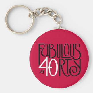Fabulous 40 black white red Keychain