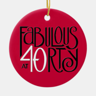 Fabulous 40 black white red Ornament