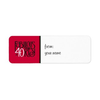 Fabulous 40 black white red small Gift Tag Label label