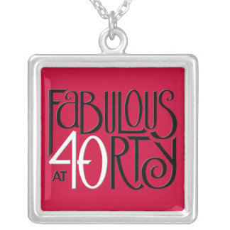 Fabulous 40 black white red Square Necklace