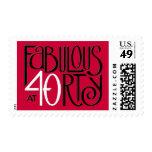 Fabulous 40 black white red Stamp