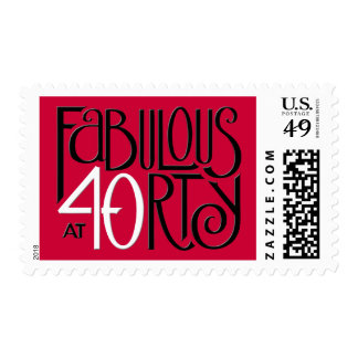 Fabulous 40 black white red Stamp
