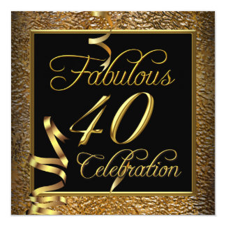 Fabulous 40 Celebration Gold Black Birthday Party Card