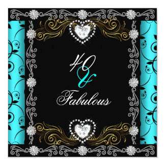 Fabulous 40 Damask Teal Black Silver 40th Birthday Card