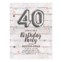 Fabulous 40 Foil Balloon Stars Birthday Invitation Postcard