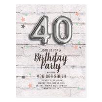 Fabulous 40 Foil Balloon Stars Birthday Invitation Postcard