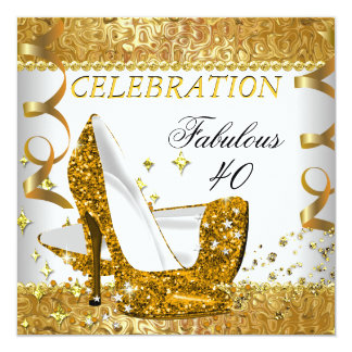 Fabulous 40 Glitter White Gold Heels Birthday Card