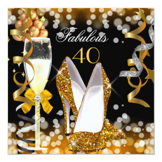 Fabulous 40 Gold Black Yellow  Bubbles Party Card