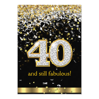 Fabulous 40 Gold Silver Streamers 40th Birthday B Card