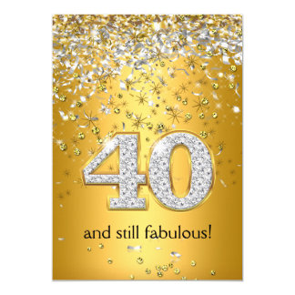 Fabulous 40 Gold Silver Streamers 40th Birthday Card