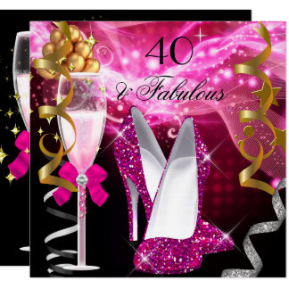 Fabulous 40 Hot Pink Glitter Heels Birthday Party Card