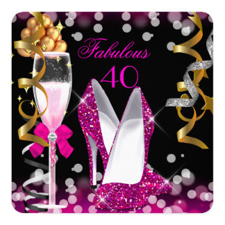Fabulous 40 Hot Pink Gold Black Bubbles 40th Party Card