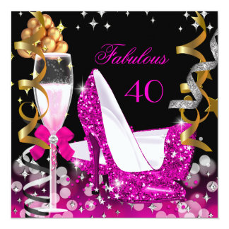 Fabulous 40 Hot Pink Gold Bubbles Glitter Party 2 Card