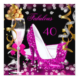 Fabulous 40 Hot Pink Gold Bubbles Glitter Party 5.25x5.25 Square Paper Invitation Card