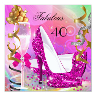 Fabulous 40 Hot Pink Gold Glitter Birthday Party Card