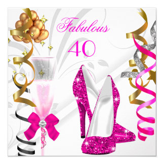 Fabulous 40 Hot Pink Gold White Birthday Party 5.25x5.25 Square Paper Invitation Card