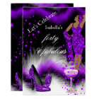 Fabulous 40 Lady Purple Champagne Birthday Party Card