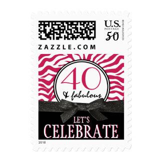 Fabulous 40 Let's Celebrate Wild Hot Pink Zebra Postage