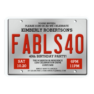 Fabulous 40 License Plate Birthday Invitations