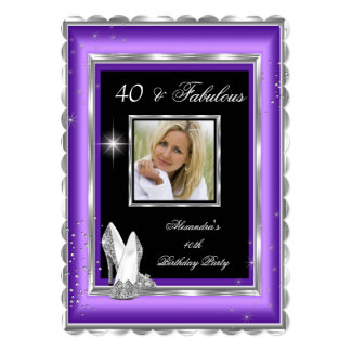 Fabulous 40 Party Photo Purple Silver High Heels 5x7 Paper Invitation Card