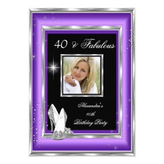 Fabulous 40 Party Photo Purple Silver High Heels Card
