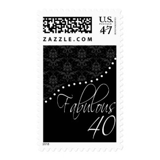 Fabulous 40 Personalized Black Birthday Party Postage Stamp