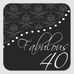 Fabulous 40 Personalized Black Birthday Party Square Stickers