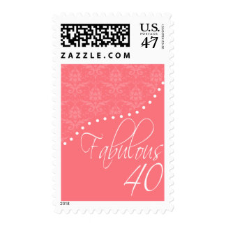 Fabulous 40 Personalized Pink Birthday Party Postage