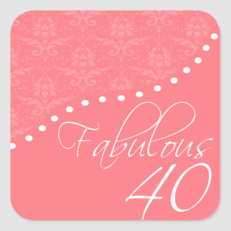 Fabulous 40 Personalized Pink Birthday Party Square Sticker