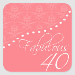 Fabulous 40 Personalized Pink Birthday Party Sticker