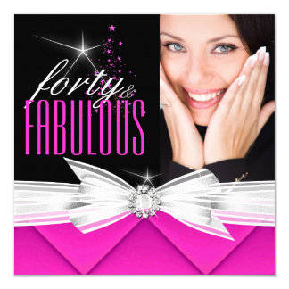 Fabulous 40 Photo Pink Black White Elegant Party 3 Invitation