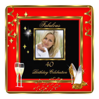 Fabulous 40 Photo Red Gold Champagne Heels Card