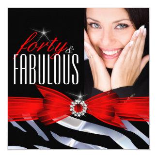 Fabulous 40 Photo Red Zebra Black White Birthday 5.25x5.25 Square Paper Invitation Card