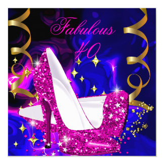 Fabulous 40 Pink Blue Gold Heels Abstract Birthday 5.25x5.25 Square Paper Invitation Card