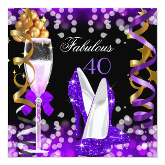 Fabulous 40 Purple Black Gold Bubbles Party Card