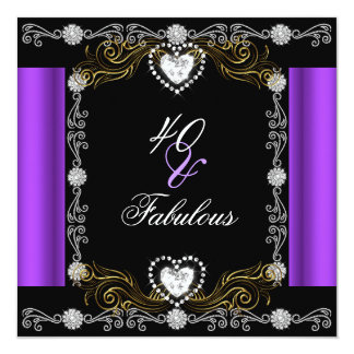 Fabulous 40 Purple Black Silver Gold 40th Birthday Card