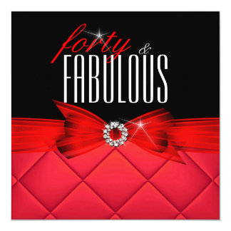 Fabulous 40 Red Black Elegant Birthday Party Card