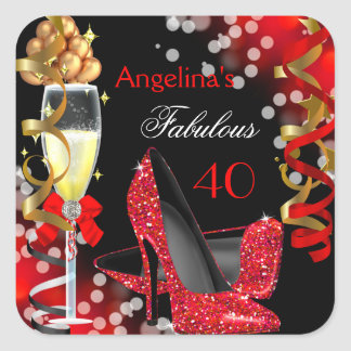 Fabulous 40 Red Heels Gold Bubbles Birthday Party Square Sticker