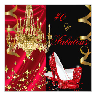 Fabulous 40 Red High Heels Chandelier Birthday Card