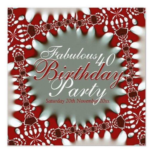 Fabulous 40 Red White Bold Batik Invitation