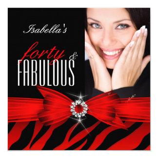Fabulous 40 Red Zebra Black Photo Birthday Card