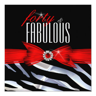 Fabulous 40 Red Zebra Black White Birthday Party Card