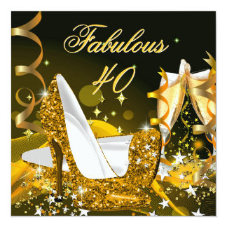 Fabulous 40 Woman's Gold Birthday Party 5.25x5.25 Square Paper Invitation Card