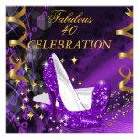Fabulous 40 Woman's Purple Gold Heels Birthday Custom Invite