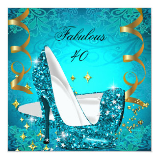 Fabulous 40 Woman's Teal Gold Heels Birthday 2 Card